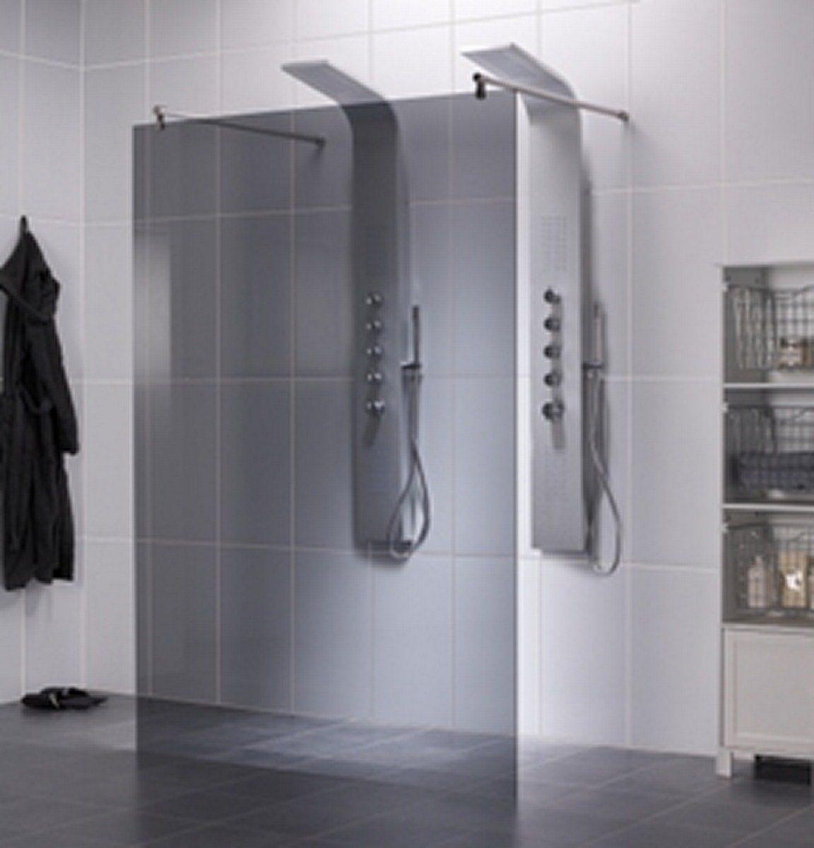 Inloopdouche op maat 2 zijden open badmeesters - Glas betegelde badkamer bad ...
